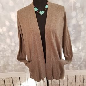 Sonoma Taupe Open Front Cardigan with Pockets